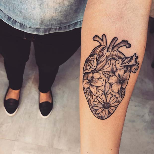 Realistic Heart Tattoo Design