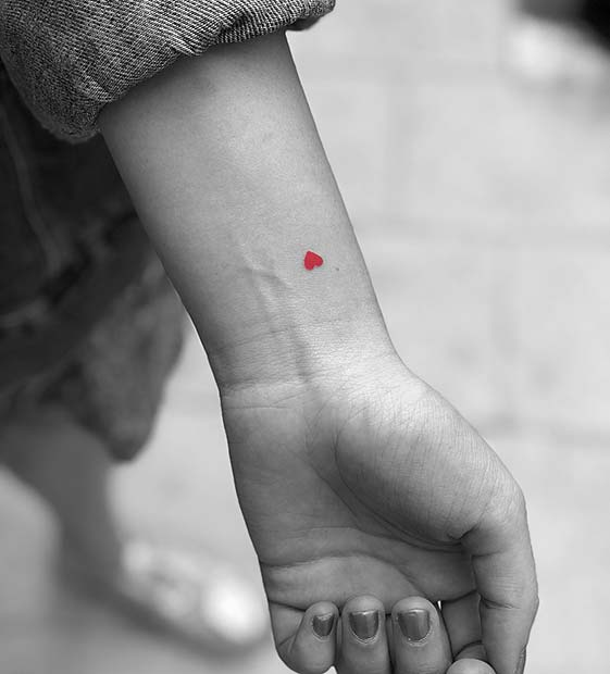 Tiny Red Heart TattooDesign