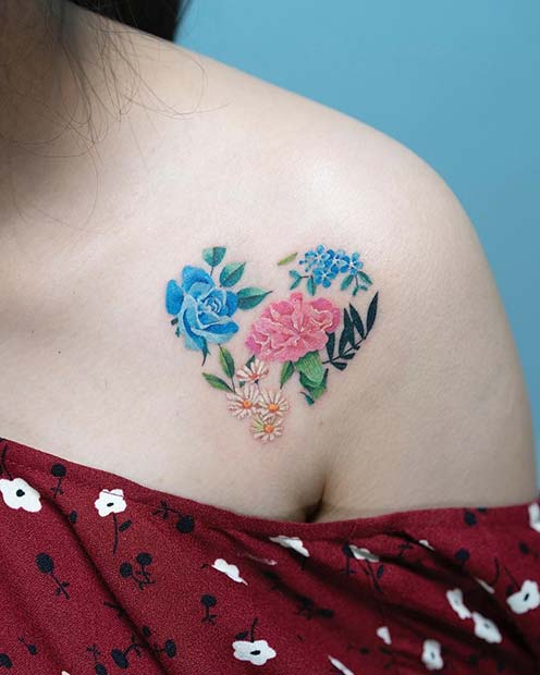 Vibrant Floral Heart Tattoo Idea