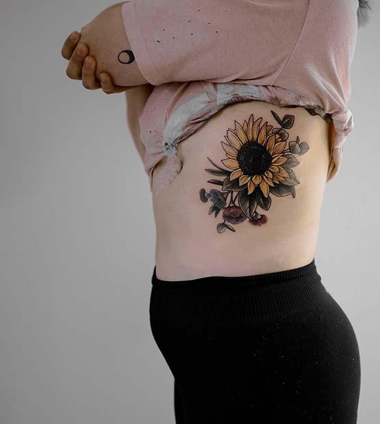 Bold Sunflower Rib Tattoo