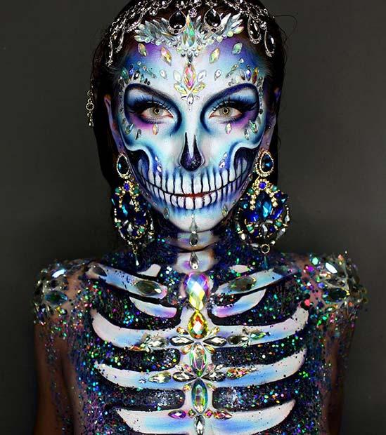 5. Amazing Rhinestone Halloween Skeleton Makeup