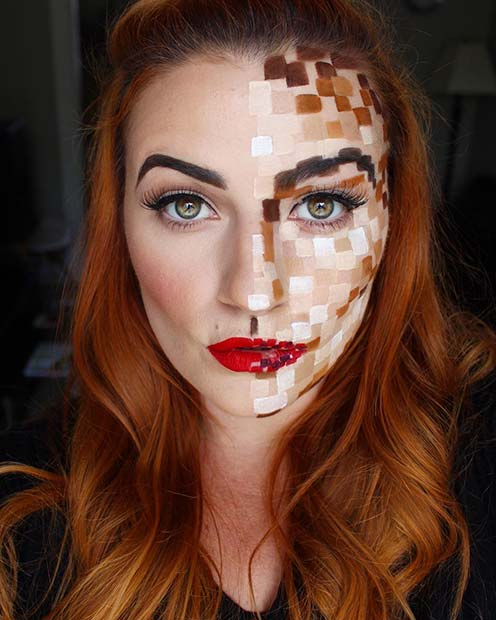 Pixelated Makeup Idea for Halloween