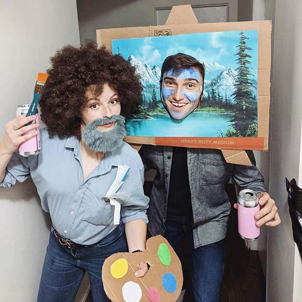 Bob Ross Couples Halloween Costume Idea
