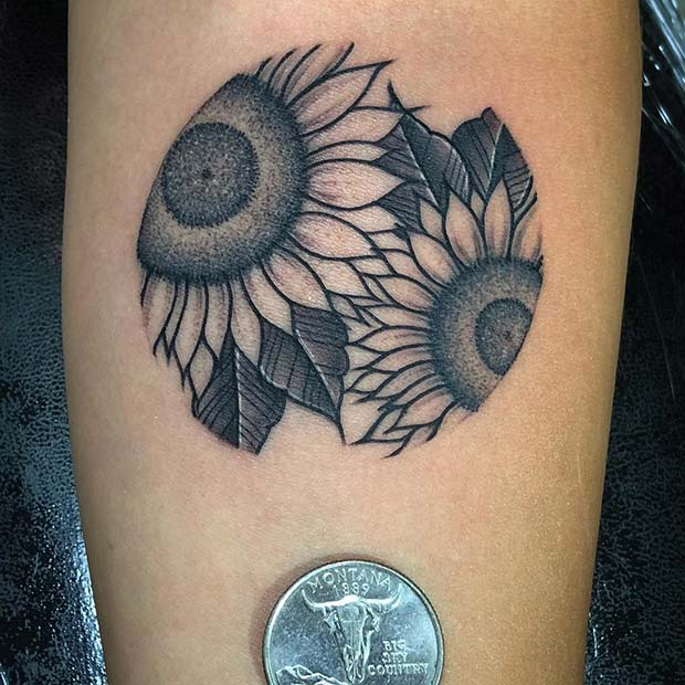 Small Sunflower Tattoo Design in a Circle
