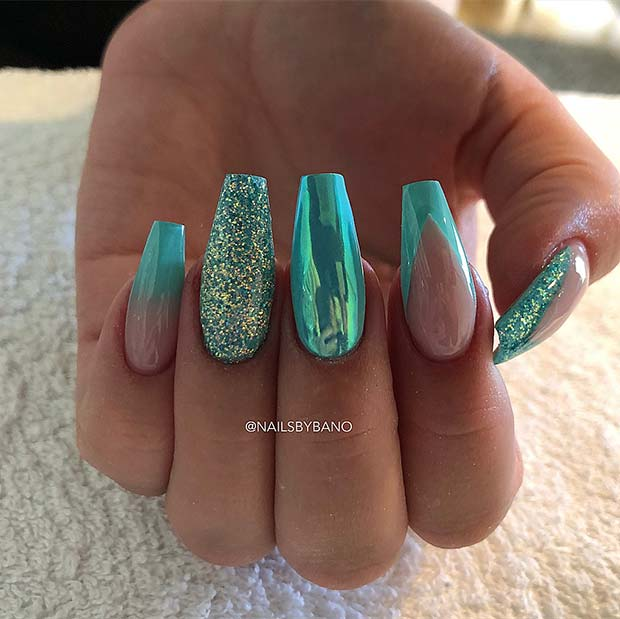 Blue Chrome and Triangle French Tips Coffin Nails