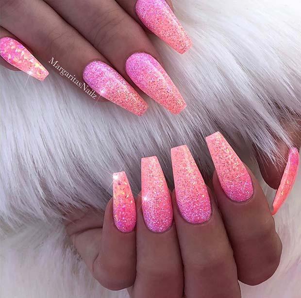 Bold, Glitter Ombre Coffin Nails