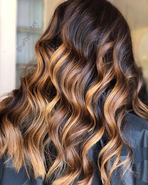 Caramel Balayage Hair Color Idea for Winter