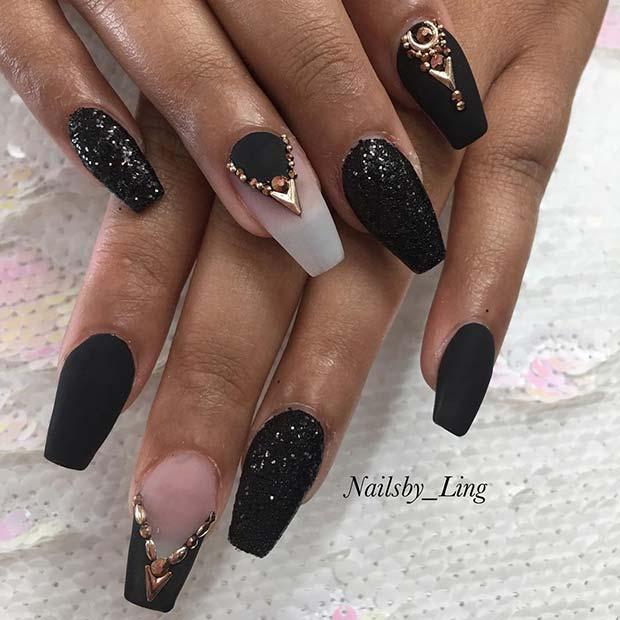 Chic, Matte Black Coffin Nails