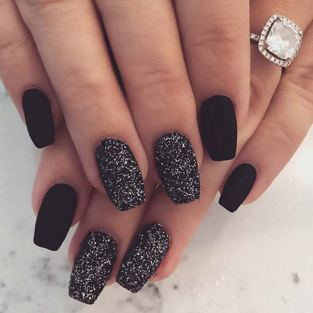 Chic Matte Black Nails with Sparkle