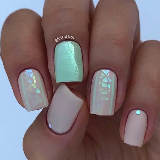 Cute Iridescent Nail Idea