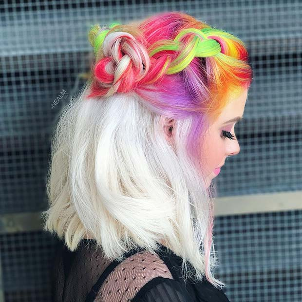Unicorn to Ice Blonde Ombre Hair
