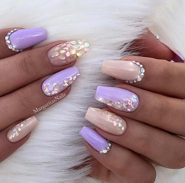 Pretty Nude & Purple Coffin Nails
