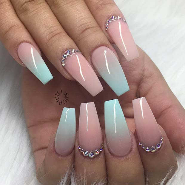 Pastel Ombre Coffin Nails with Rhinestones