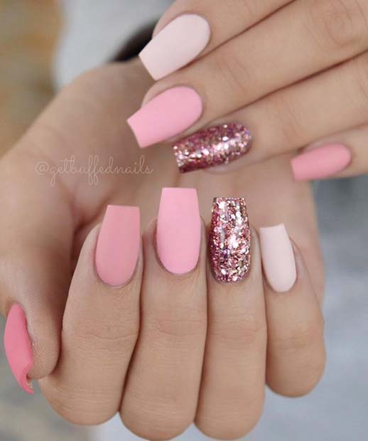 Matte Pink and Glitter Coffin Nails