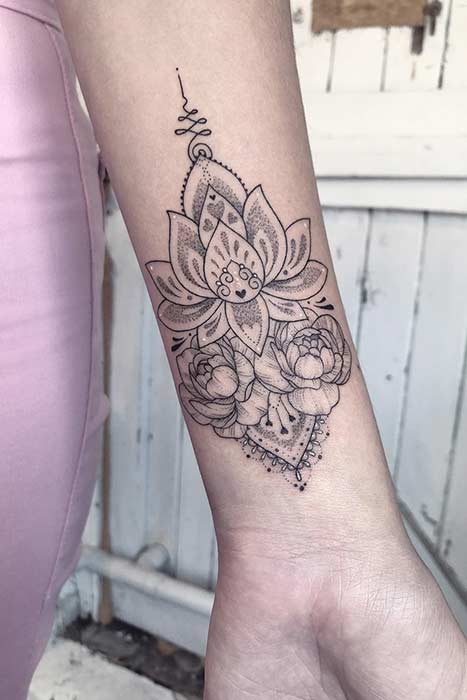 Lotus Flower Wrist Tattoo