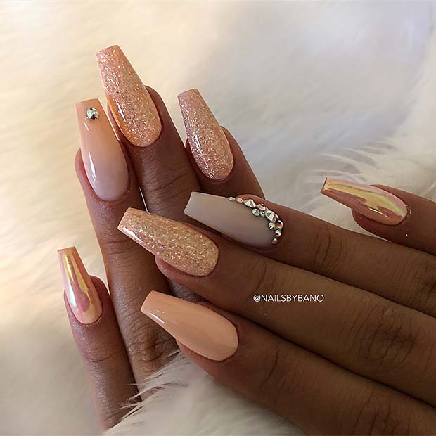 Peachy Nude Coffin Nails