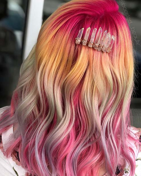 Pink Princess Unicorn Hair Color Idea