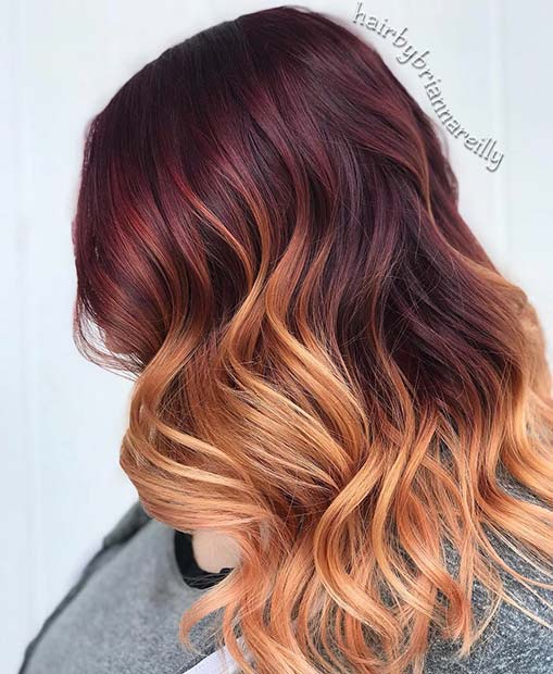 Burgundy to Strawberry Blonde Ombre Hair