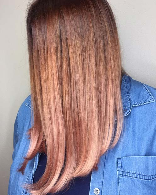 Strawberry Blonde to Rose Gold Ombre