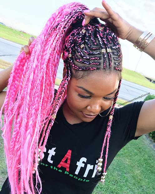 Vibrant Pink Tribal Braids for Summer