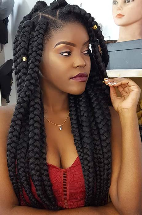 Jumbo Crochet Braids with Triangle Parting