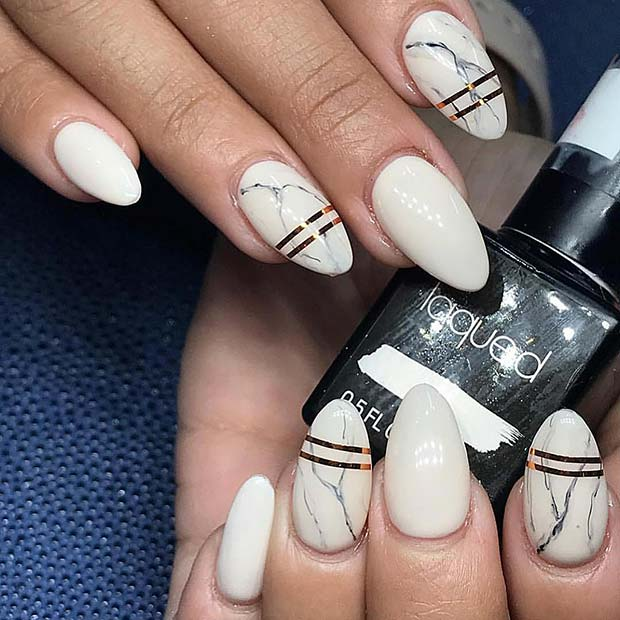Marble Nails with Gold Details