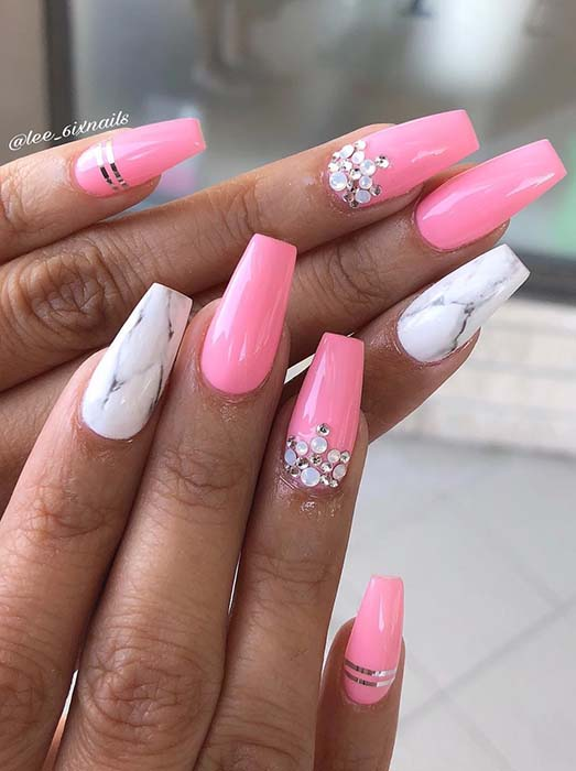 Pink and Marble Coffin Nails