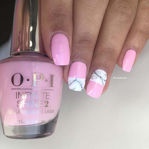 Pretty Pink Nails with a Marble Design