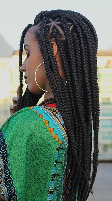 Sleek and Stylish Triangle Part Box Braids