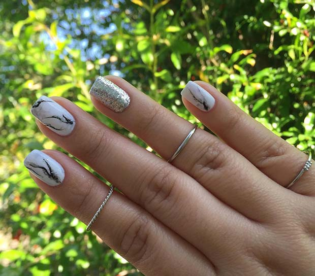 Marble Nails with Glitter Accent Nail