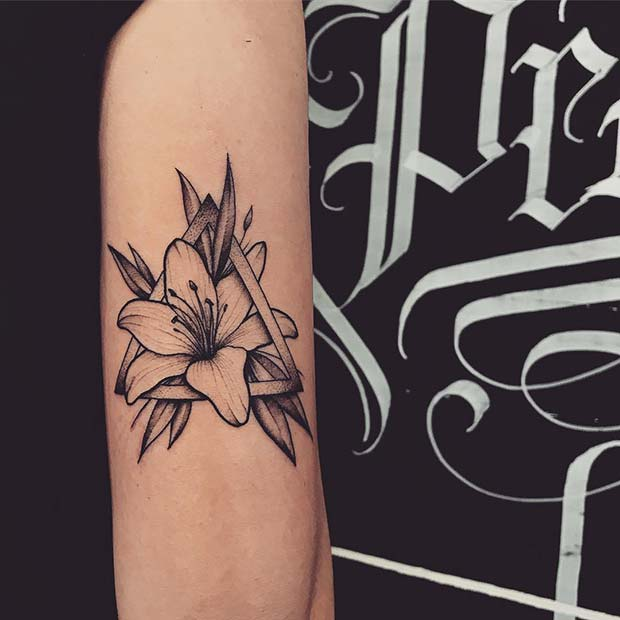 Triangle Lily Tattoo Idea