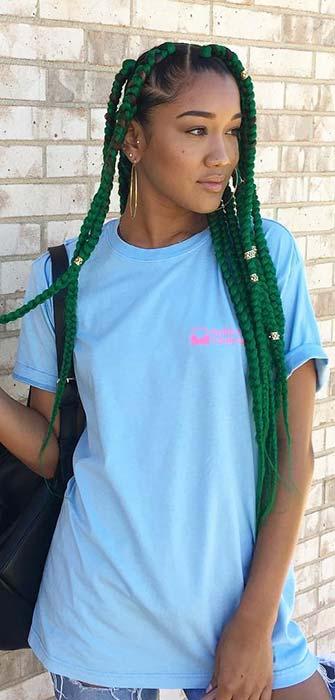 Vibrant Green Box Braids