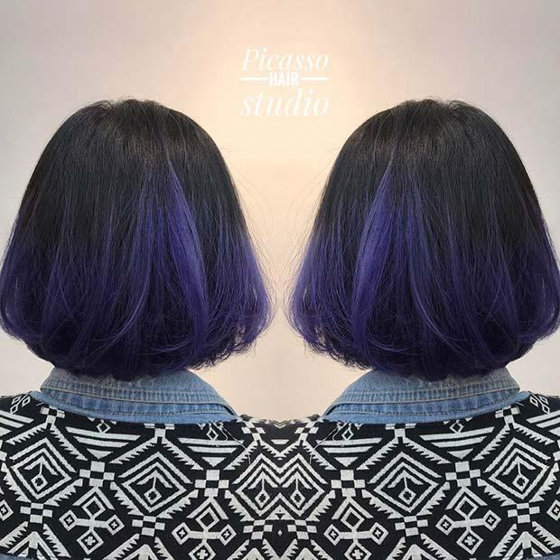 Black to Purple Ombre Bob