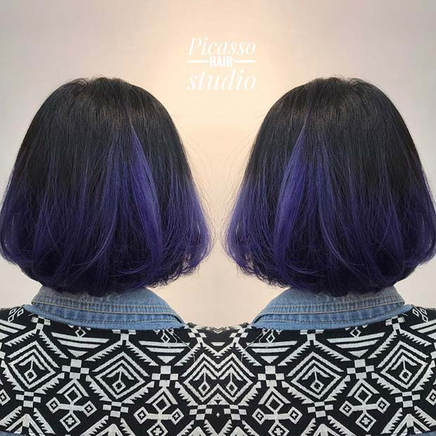 Black to Purple Ombre Bob