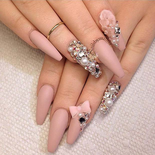 Cute Nude Coffin Nails with Matte Finish