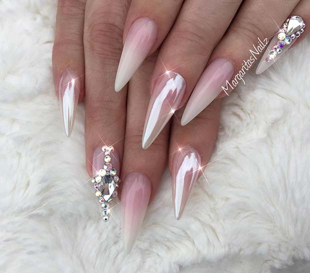 French Ombre and Chrome Nails