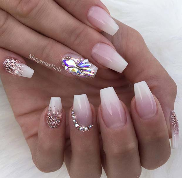 French Ombre Coffin Nails