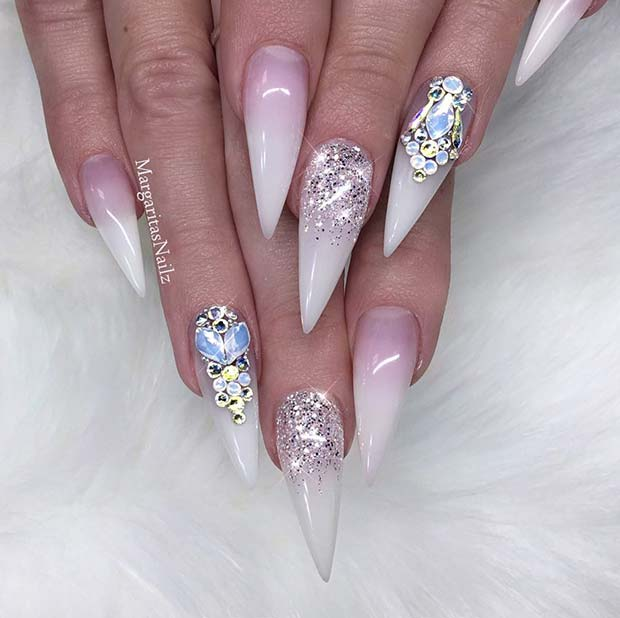 Glam French Ombre Stiletto Nails