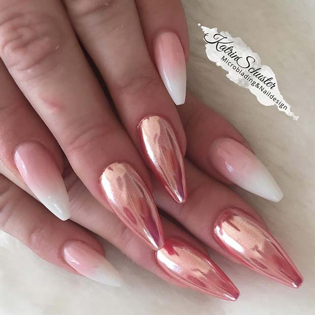French Ombre and Rose Gold Chrome Nails