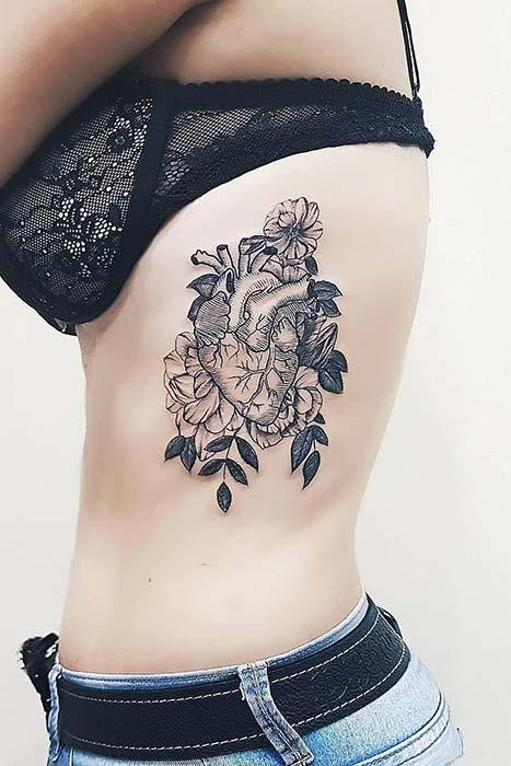Realistic Heart Rib Tattoo Idea