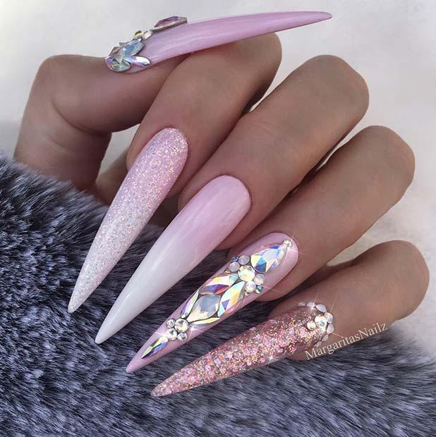 Long Stiletto Ombre Nails