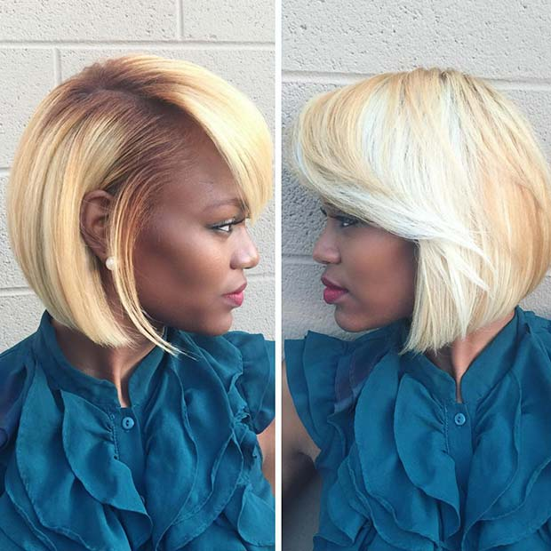 Trendy Bright Blonde Bob for Black Women