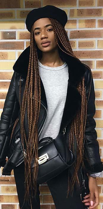 Long Box Braids in Brown Shade