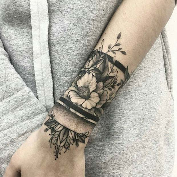 Trendy Floral Arm Tattoo Idea for Girls