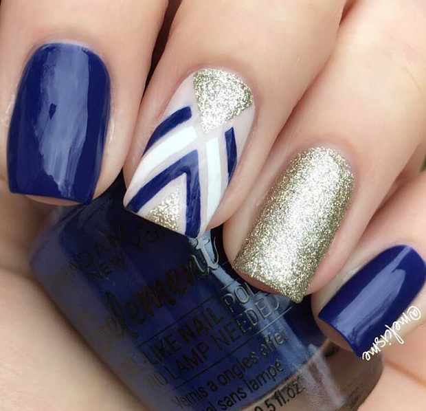Blue and Gold Glitter Gel Nails