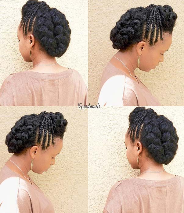 Natural Braided Updo with Side Braids
