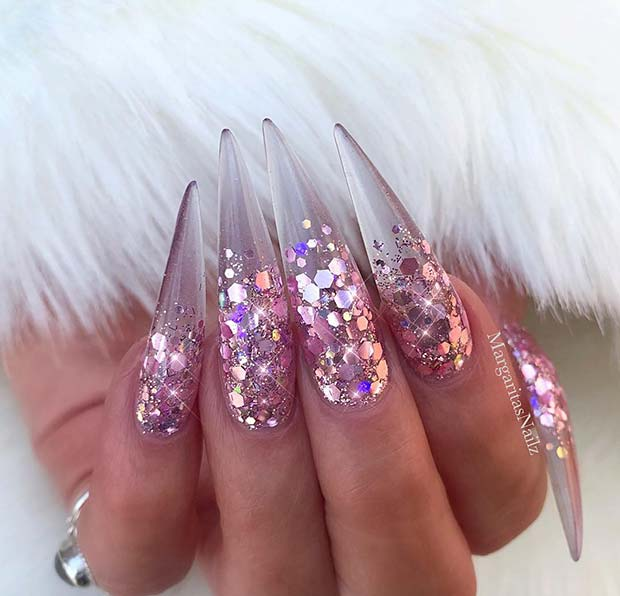 Clear Gel Nail Design with Glitter