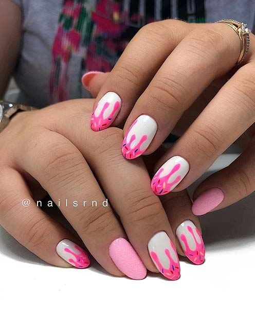 Cute, Pink and White Drip Nails