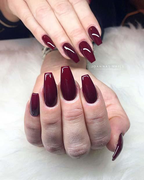 Shiny, Dark Red Gel Nails
