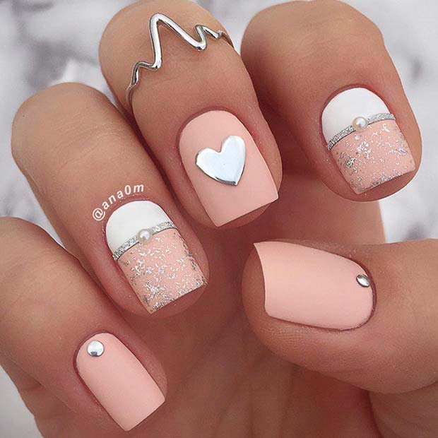 Light Pink and White Heart Nails